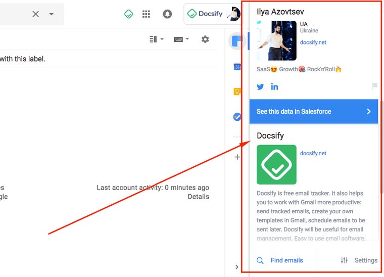 Gmail to know more about a recipient