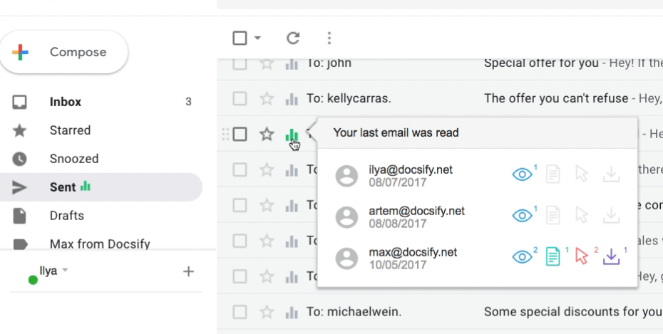 Gmail plugin for email tracking